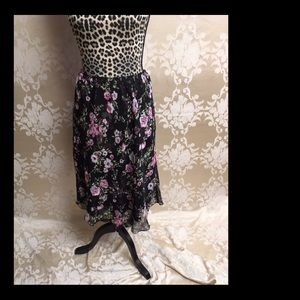 Black and pink floral skirt
